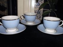 3 X ELEGANT ROYAL DOULTON Rd2004 CUPS & SAUCERS GILDED POWDER BLUE OLDFIELD
